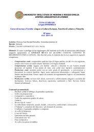 III anno LCE - Centro Linguistico di Ateneo