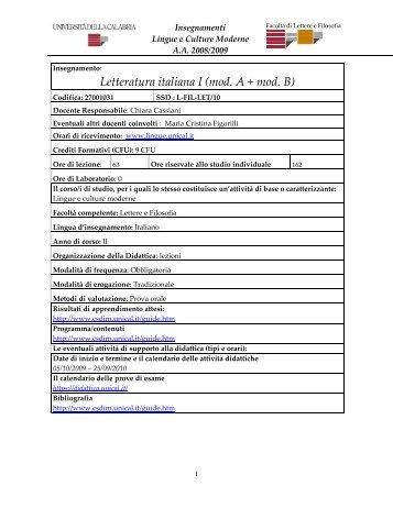 Insegnamenti - Università della Calabria