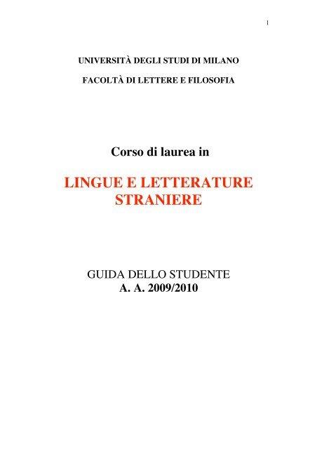 Calendario Unimi.Lingue E Letterature Straniere Studi Umanistici Unimi