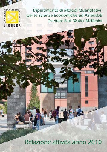 Relazione attività anno 2010 - Università degli Studi di Milano-Bicocca