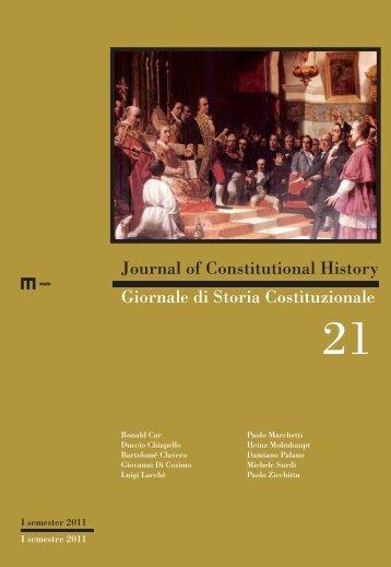 Giornale di storia costituzionale 1/2011 - EUM - Università degli ...
