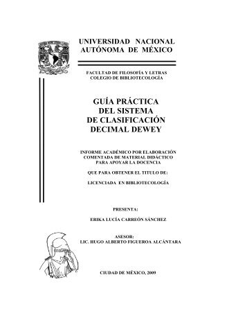 GUÍA PRÁCTICA DEL SISTEMA DE CLASIFICACIÓN DECIMAL DEWEY