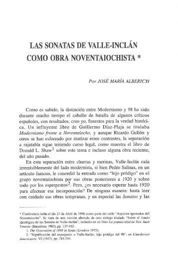 Las Sonatas de Valle-Inclán como obra noventaiochista