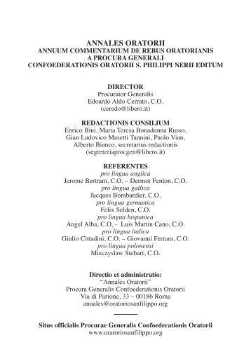 annales oratorii - Confederazione dell'Oratorio di San Filippo Neri
