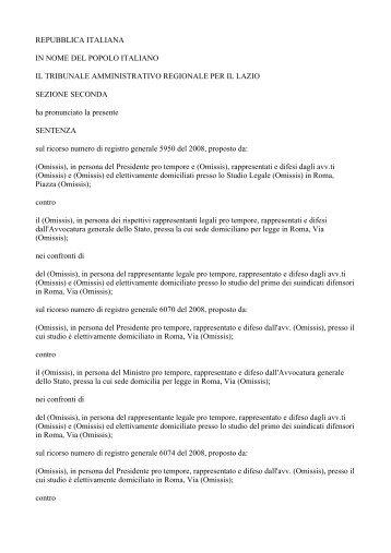 Tar del Lazio - Sentenza n. 7395/2012 - Il Sole 24 Ore
