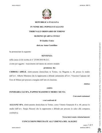 Tribunale di Torino, sez. IV civile, GU Castellino, sentenza ... - Unarca
