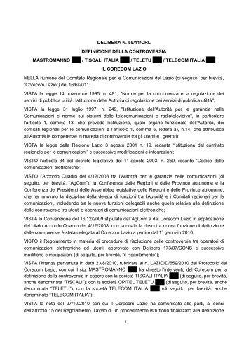 1 DELIBERA N. 55/11/CRL DEFINIZIONE DELLA ... - Corecom Lazio