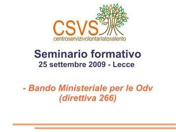 Slides incontro 25 settembre - Centro Servizi Volontariato Salento