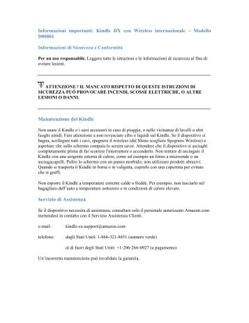 Manutenzione del Kindle Servizio di Assistenza - Amazon Web ...