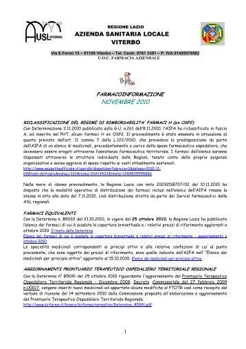 Farmacoinformazione novembre 2010 - ASL Viterbo