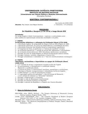História Contemporânea I - Universidade Católica Portuguesa