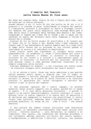 L'omelia del Vescovo nella Santa Messa di fine anno - Chiesa ...