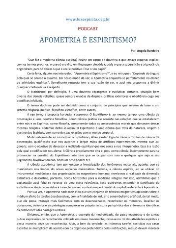 APOMETRIA É ESPIRITISMO? - Portal Luz Espírita
