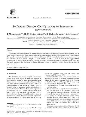 Surfactant (Genapol OX-80) toxicity to Selenastrum ... - Estudo Geral
