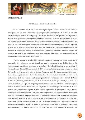 APRESENTAÇÃO Revisitando o Dossiê Brasil Império ... - UFCG