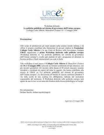 politiche pubbliche nel sistema di governance dell'Unione ... - Urge