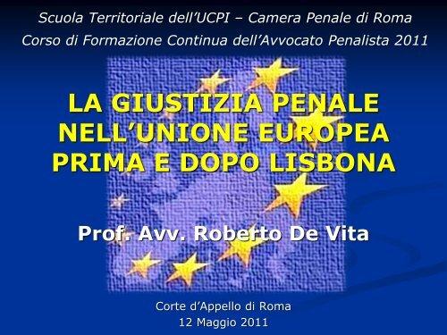 Prof Avv Roberto De Vita - Camera Penale di Roma