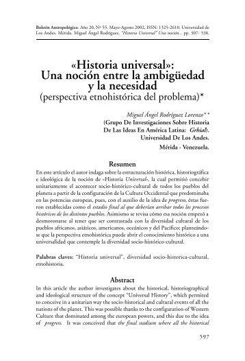 Historia universal - Saber ULA - Universidad de Los Andes