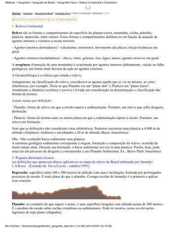 Matérias > Geografia > Geografia do Brasil > Geografia ... - EbookWF