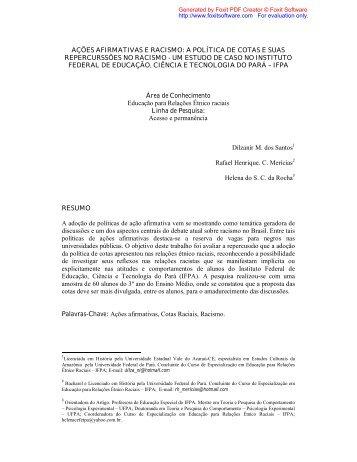ações afirmativas e racismo: a política de cotas e suas ...