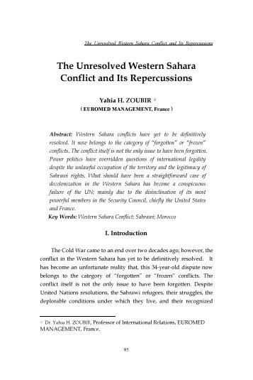 The Unresolved Western Sahara Conflict and Its Repercussions