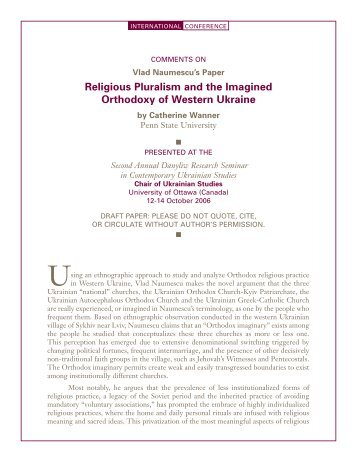 Religious Pluralism and the Imagined Orthodoxy of Western Ukraine