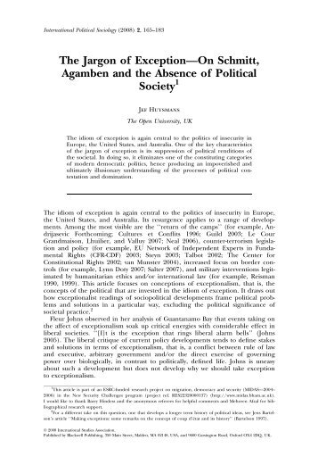 The Jargon of Exception—On Schmitt, Agamben and ... - Bigo - Home