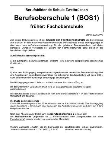 Berufsoberschule 1 (BOS1) - Berufsbildende Schule Zweibrücken