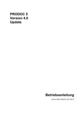 PRODOC 5 Version 4.0 Update Betriebsanleitung - Schleicher ...