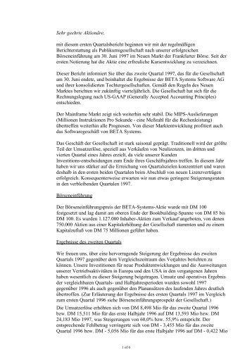 Bericht über das zweite Quartal 1997 (PDF) - Beta Systems