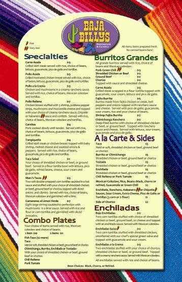 See a menu now. - Bronco Billy's Casino