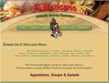 Browse the El Mexicano Menu - Mid Michigan Deals.com