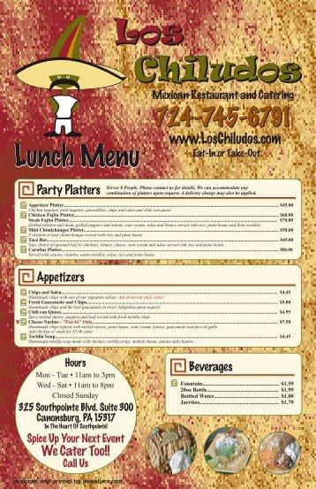 Lunch Menu 1-6-12 - Los Chiludos