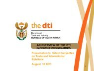 AN OVERVIEW OF THE DTI INCENTIVE PROGRAMMES ...