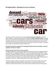 AS Applied Micro: Subsidies for the Car Industry - Tutor2u