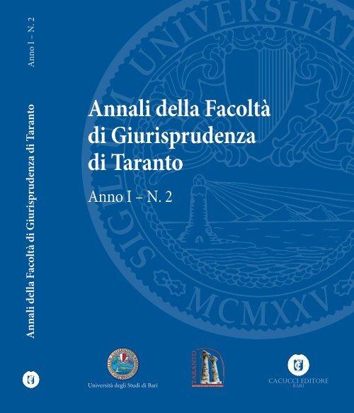 Annali Della Facolta Di Giurisprudenza Di Taranto Anno