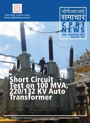 Short Circuit Test on 100 MVA, 220/132 KV Auto ... - Cpri.in
