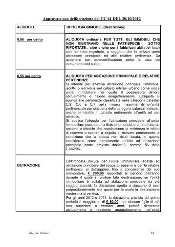 estratto deliberazione Aliquote IMU 2012 - Comune di Bagno di ...