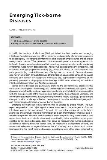 Emerging Tick-borne Diseases - Uesc