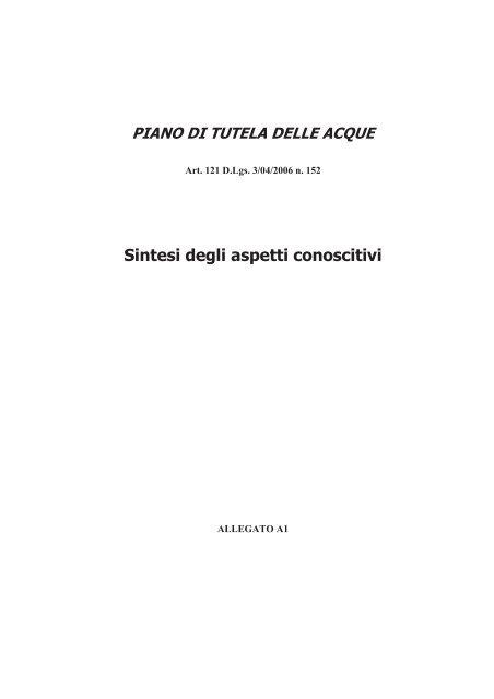 Sintesi Degli Aspetti Conoscitivi Regione Veneto