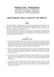 regolamento per la raccolta dei mirtilli - Parco del Frignano