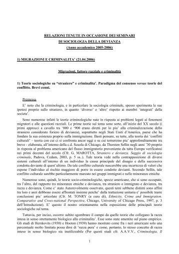 Seminari di Sociologia della devianza - Ristretti.it