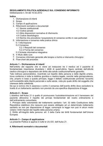 Regolamento consenso informato - Azienda ULSS 21