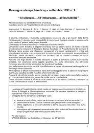 """Rassegna stampa handicap - settembre 1991 n. 9 """"Al silenzio ... - Aias"""