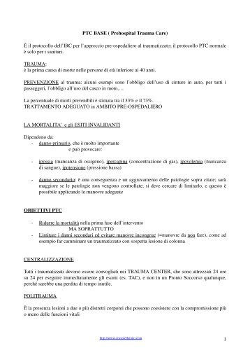 PTC BASE ( Prehospital Trauma Care) - Cri Fossombrone