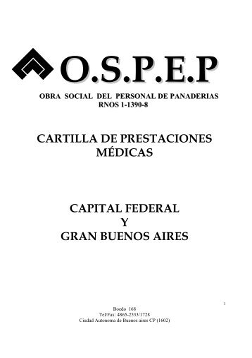 CARTILLA DE PRESTACIONES MÉDICAS CAPITAL ... - ospep