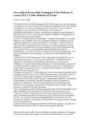 Nove milioni di euro dalla Compagnia di San Paolo per il Centro ...