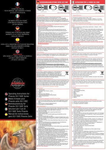 Operating Instructions for Phoenix SS1190E Series ... - Phoenix Safes