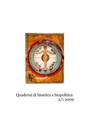 Quaderni di bioetica e biopolitica 2/1 2009 - Ospedale Sacro Cuore ...
