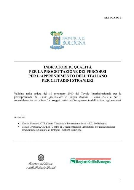 Allegato 3 Indicatori Qualita Provincia Di Bologna